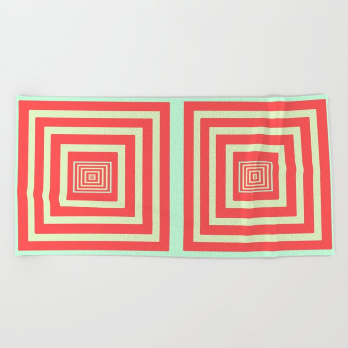 Coral and Light Blue Beach Towel