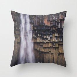 Waterfall and Basalt Rocks Throw Pillow