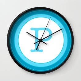 Blue letter P Wall Clock