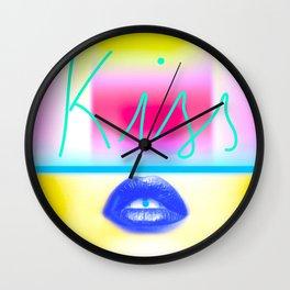 Yellow Kiss Wall Clock