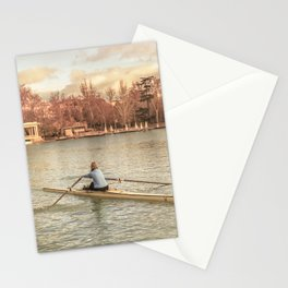 Woman Rowing at Del Retiro Park, Madrid, Spain Stationery Cards