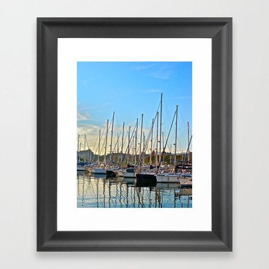 Harbor: Barcelona, Spain Framed Art Print