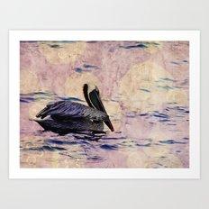 twilight pelican Art Print