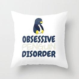 Obsessive Penguin Disorder Throw Pillow