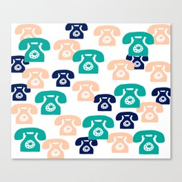 You rang? // 1950s Phone Pattern Canvas Print