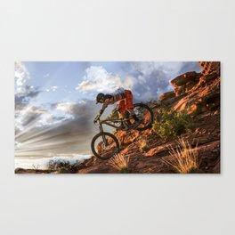 Mountain Bike in Rugged Mountain Terrain in Sunbeams Canvas Print