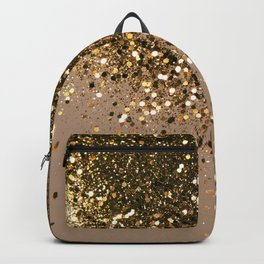 Sparkling Gold Brown Glitter Glam #1 (Faux Glitter) #shiny #decor #art #society6 Backpack