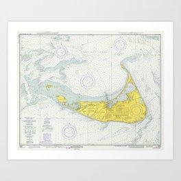 Vintage Map of Nantucket (1975) Art Print