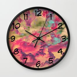 Eat the Peach - Surreal cloudscape Wall Clock