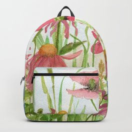 Watercolor Garden Flower Poppies Lupine Coneflower Wildflower Backpack