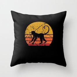 Retro Sun Monkey Primate Gift Throw Pillow