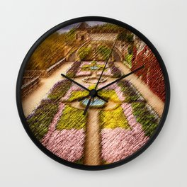 French Chateau & Garden in the French Countryside Landscape Painting by Jeanpaul Ferro Wall Clock