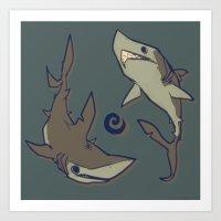 sharks Art Prints featuring Sharks by Anya McNaughton