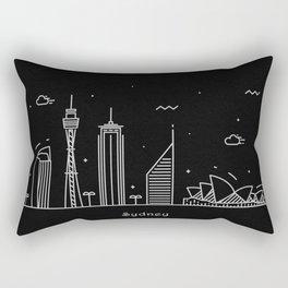 Sydney Minimal Nightscape / Skyline Drawing Rectangular Pillow