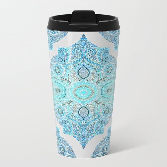 Through Ocean & Sky - turquoise & blue Moroccan pattern Metal Travel Mug