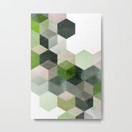 Modern Green Hexagon Art 6 Metal Print