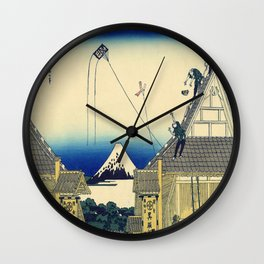 Katsushika Hokusai's Koto Suruga-cho Mitsui Miseryakuzu Wall Clock