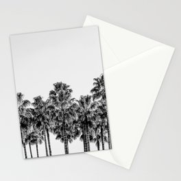 California Beach Vibes // Black and White Palm Trees Monotone Travel Photograph Stationery Cards
