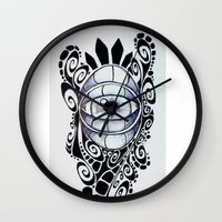 evil eye Wall Clocks featuring Evil Eye by King Catastropa