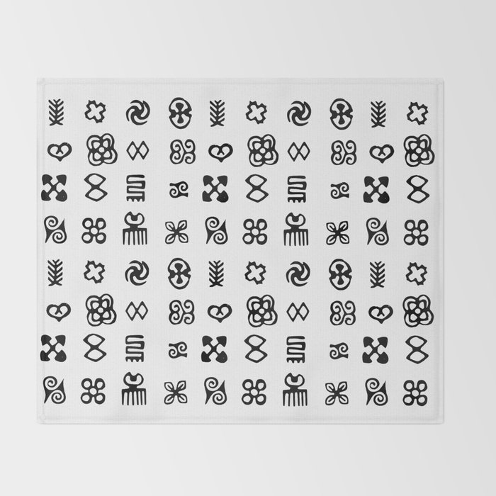 Adinkra Symbols Of West Africa Throw Blanket