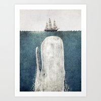 whales Art Prints featuring The Whale - vintage  by Terry Fan