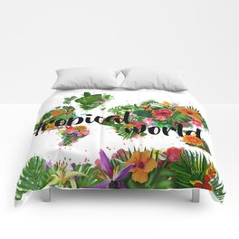 world map tropical vibes 2 Comforters