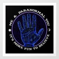 Me & Paranormal You - James Roper Design - Palmistry (white lettering) Art Print