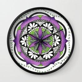 Purple Flower Mandala Wall Clock