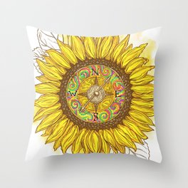 Sunflower Compass Throw Pillow