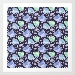Modern abstract mint pastel purple floral illustration Art Print