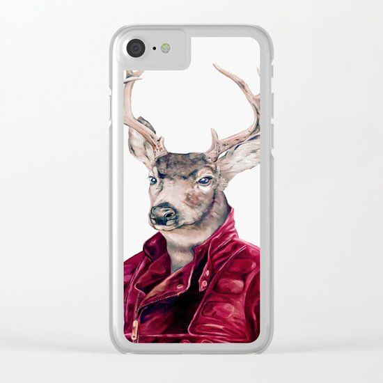 Deer In Leather Clear iPhone Case