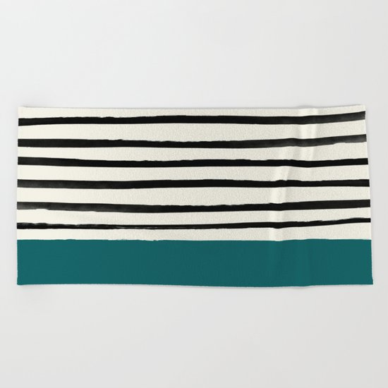 Dark Turquoise & Stripes Beach Towel