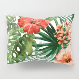 Hibiscus and Palm Leaf Pattern Pillow Sham