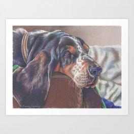 Sleepy Basset Hound Dog Art Print Art Print