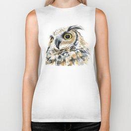 Owl Great Horned Bird of Prey Owls Animals Bird Wildlife Biker Tank