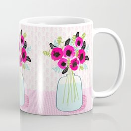 Poppies Vase of flowers cut flower mother's day cute florals illustration Andrea Lauren Coffee Mug