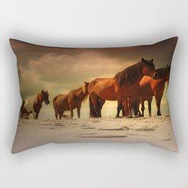 Beached Ponies Rectangular Pillow