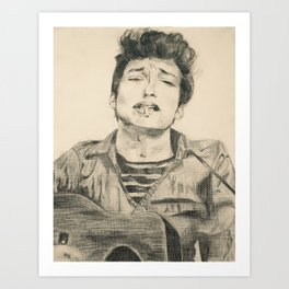 Bob Dylan- The Folk King Art Print
