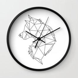 Geometric Wolf (Black on White) Wall Clock