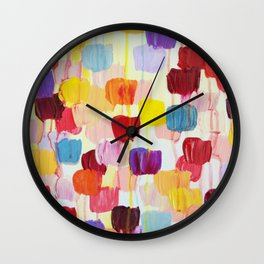 DOTTY - Stunning Bright Bold Rainbow Colorful Square Polka Dots Lovely Original Abstract Painting Wall Clock