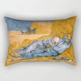 "Vincent van Gogh - Noon Rest From Work (A ""Copy"" of a Jean-François Millet Work) Rectangular Pillow"