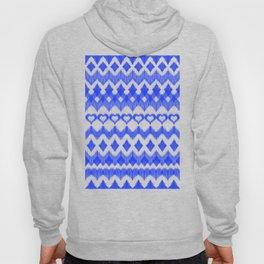 Ikat Pattern in Cobalt Blue & White Hoody