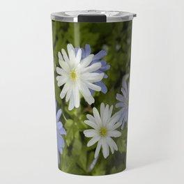 Purple and White Flowers Travel Mug