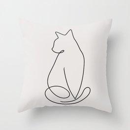 One Line Kitty Throw Pillow