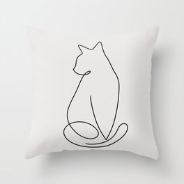 One Line Kitty Throw Pillow