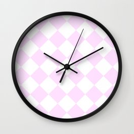 Large Diamonds - White and Pastel Violet Wall Clock