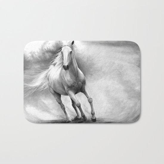 Horse GRAPHITE DRAWING II. Bath Mat