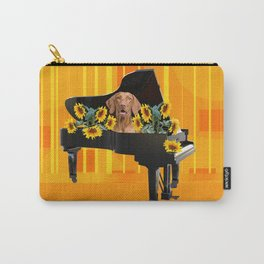Piano with sunflowers and brown Weimaraner  Dog Carry-All Pouch