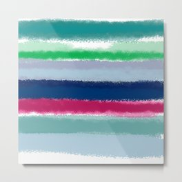 Bluish Blues 2 - Blues, Aqua, Greens, and Pinks, Stripes on White Metal Print