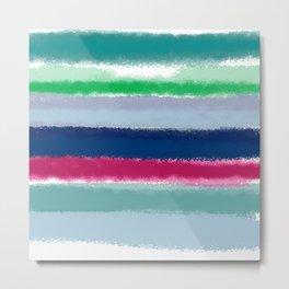 Bluish Blues 2 - Blues, Aqua, Greens, and Pinks, Stripes on White Metal Print